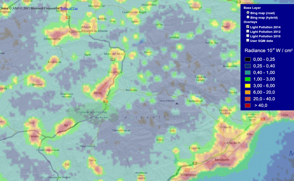 Mapa mundial de contaminación lumínica