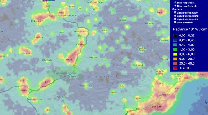 Mapa mundial actualizado de la contaminación lumínica